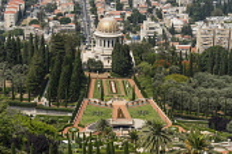 Israel, Haifa, The Bahai Gardens on the slopes of Mount Carmel in Haifa, Israel, contains the Bahai World Centre for the Bahai religion as well as the Shrine of the Bab, the founder of the religion. T...