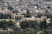 Israel, Jerusalem, Mount of Olives, A telephoto view of the north end of the platform of the Dome of the Rock with entry arches and shrines as seen from the Mount of Olives. Temple Mount or al-Haram a...