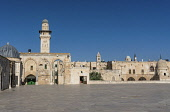 Israel, Jerusalem, The Bab al-Silsila minaret is one of the four minarets on the Temple Mount or al-Haram ash-Sharif in the Old City. The Old City and its Walls is a UNESCO World Heritage Site. In the...