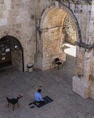 Israel, Jerusalem, A Muslim man kneels on his prayer rug to offer prayers by the inside of the East Gate or Golden Gate of the Temple Mount or al-Haram ash-Sharif in the Old City. The Old City of Jeru...