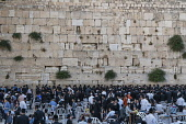 Israel, Jerusalem, Western Wall, Jewish men worship at the Western Wall of the Temple Mount in the Jewish Quarter of the Old City. The Old City of Jerusalem and its Walls is a UNESCO World Heritage Si...