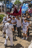 Israel, Jerusalem, Jewish Quarter, A bar mitzvah procession moves toward the entrance to the Jewish Quarter of the Old City.