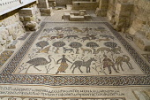 Jordan, Mount Nebo, Mount Nebo, The late 6th Century A.D. baptismal font and mosaic tile floor built in a new chapel or diakonikon in the Byzantine church which is now the Roman Catholic Memorial Chur...