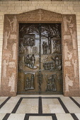 Israel, Galilee, Nazareth, The bronze doors of the Church or Basilica of the Annunciation.