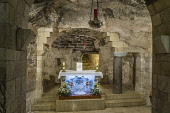 Israel, Galilee, Nazareth, The lower level of the Church or Basilica of the Annunciation contains the cave called the Holy Grotto traditionally believed to be the home of Mary in Nazareth before her m...