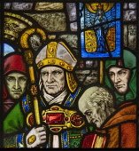Ireland, County Cork, Cork City, Crawford Art Gallery, Stained glass window by Harry Clarke depicting the consecration of Saint Mel as Bishop of Longford by Saint Patrick.