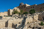 Israel, Jerusalem, Ophel Garden Archeological Park, The Ophel Garden Archeological Park located below the south wall of the Temple Mount is part of the larger Jerusalem Archeological Park and is activ...