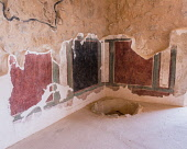 Israel, Stuccoed murals on the interior walls of the Commandant's residence in the ruins of the fortress of Masada in the Judean Desert of Israel. Masada National Park is a UNESCO World Heritage Site....