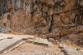 Israel, Caesarea Philippi, Hermon Springs Nature Reserve, The foundation of the temple of Zeus in the ruins of the Greco-Roman religious center of Panias at Caesarea Philippi in the Hermon Springs (Ba...