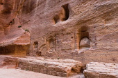 Jordan, Petra, Niches carved in the wall of the narrow slot canyon called the Siq which leads to the ruins of the Nabataean city of Petra in the Petra Archeological Park is a Jordanian National Park a...