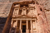 Jordan, Petra, The Treasury or Al Khazneh is a tomb for King Aretas IV Philopatris in the Nabataean city of Petra in the Petra Archeological Park is a Jordanian National Park and a UNESCO World Herita...