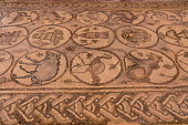 Jordan, Petra, Mosaic tile floors in the Main Church, a Byzantine church in the ruins of the Nabataean city of Petra in the Petra Archeological Park is a Jordanian National Park and a UNESCO World Her...