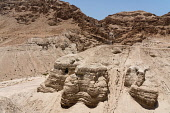 Palestine, Qumram National Park, The Scrolls Cave in the ruins of Qumram in Qumram National Park near the Dead Sea in the Occupied Territory of the West Bank. The first of the Dead Sea Scrolls were fo...