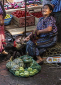Guatemala, Solola Department, Santiago Atitlan, A Mayan woman wearing traditional dress sits with her chickens and produce for sale in the weekly open market.