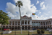 Guyana, Demerara-Mahaica Region, Georgetown, The Parliament Building was completed in 1834 in the 19th Century classical rensissance architectural style.  In front are two Russion cannons captured at...