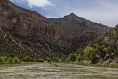 USA, Colorado, Dinosaur National Monument, Rafting through the Gates of Ladore on the Green River.