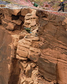 USA, Utah, Moab, A base jumper drops from the Mothership Space Net suspended from the cliffs 950 vertical feet above the valley floor at Mineral Canyon.