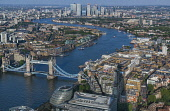 England, London, Tower Bridge and the River Thames seen from the viewing deck on the Shard known as the View from the Shard.