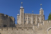 England, London, Tower of London, White Tower from outside the walls.