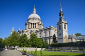 England, London, View of St Paul's Cathedral from Festival Gardens.