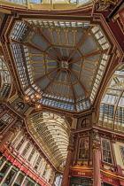 England, London, Interior roof detail of Leadenhall Market.
