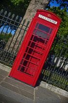 England, London, Greenwich, Iconic UK red telephone box.