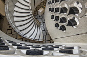 England, London, Tate Britain, Looking down on the modern staircase from the entrance rotunda.