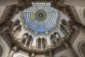 England, London, Tate Britain, View upwards from the basement to the glass dome.