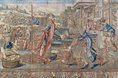 England, Richmond upon Thames. Hampton Court Palace, The Great Hall, Story of Abraham Tapestries, The Meeting of Abraham and Melchizedek.