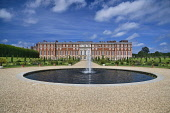 England, Richmond upon Thames. Hampton Court Palace seen from King William 3rd�s restored Privy or Private Garden.