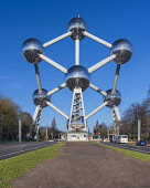Belgium, Brussels, The Atomium, General view of the Atomium from further down Boulevard de Centenaire.