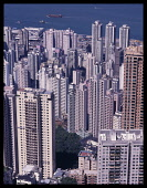 China, Hong Kong Island, Apartment Blocks, High rise towers over looking the harbour.