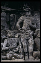 Indonesia, Java, Borobudur, Relief carving of figures.