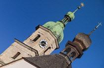 Germany, Bavaria, Berchtesgaden, Franciscan Church towers.