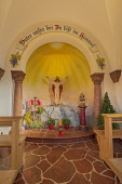 Germany, Bavaria, Berchtesgaden, The Chapel of the Beatitudes above the town on Lockstein Hill, interior view.