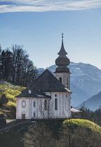 Germany, Bavaria, Maria Gern village near Berchtesgaden,  Pilgrimage Church of Maria Gern., rear view.