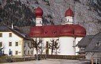 Germany, Bavaria, Berchtesgaden, Lake Konigssee, St Bartholomew Church.