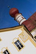 Germany, Bavaria, Berchtesgaden, Lake Konigssee, Angular view of the onion dome of St Bartholomews Church.