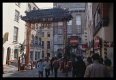 England, London, Chinatown entrance to Gerrard Street with Chinese Gateway Arch.