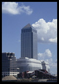 England, London, Canary Wharf, View over the Thames toward Britains tallest building designed by Cesar Pelli.