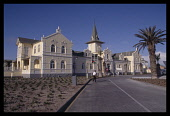 Namibia, Swakopmund, Old station building that has now been converted in to a Hotel in a German colonial style.