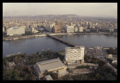 Egypt, Cairo, View over the Nile and Tahrir Square from the Cairo Tower.