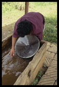 Brazil, Minas Gerais, Near Ouro Preto, Man panning for gold with large metal dish in muddy water trough.