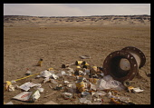 Environment, Litter, Pile of rubbish on the edge of the desert left by tourists, Bahariya Oasis, Egypt.