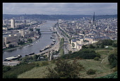 France, Normandy, Seine-Maritime, Rouen, View over the River Seine and city with Cathedral of Notre Dame.