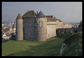 France, Normandy, Seine-Maritime, Dieppe, castle with town partly seen beyond.