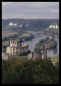 France, Normandy, Eure, Les Andelys, View over the River Seine and Chateau Gaillard.