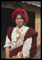 China, Tibet, People , Tibetan man from Khamba, head and shoulders portrait.
