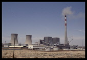 China, North , Industry, Coal Fired Power Station with plumes of smoke pouring from tall chimney.