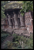 China, Sichuan Province, Dazu, Boading. Tang dynasty Buddhist figures sculpted within overhanging cliff. .